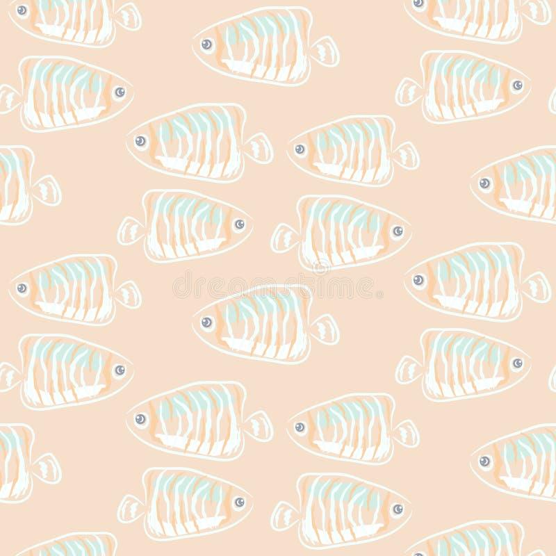 鱼米黄软的柔和的淡色彩水生无缝的样式 库存例证