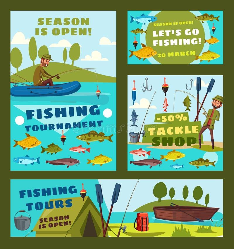 鱼讯海游览,渔夫滑车购物 库存例证