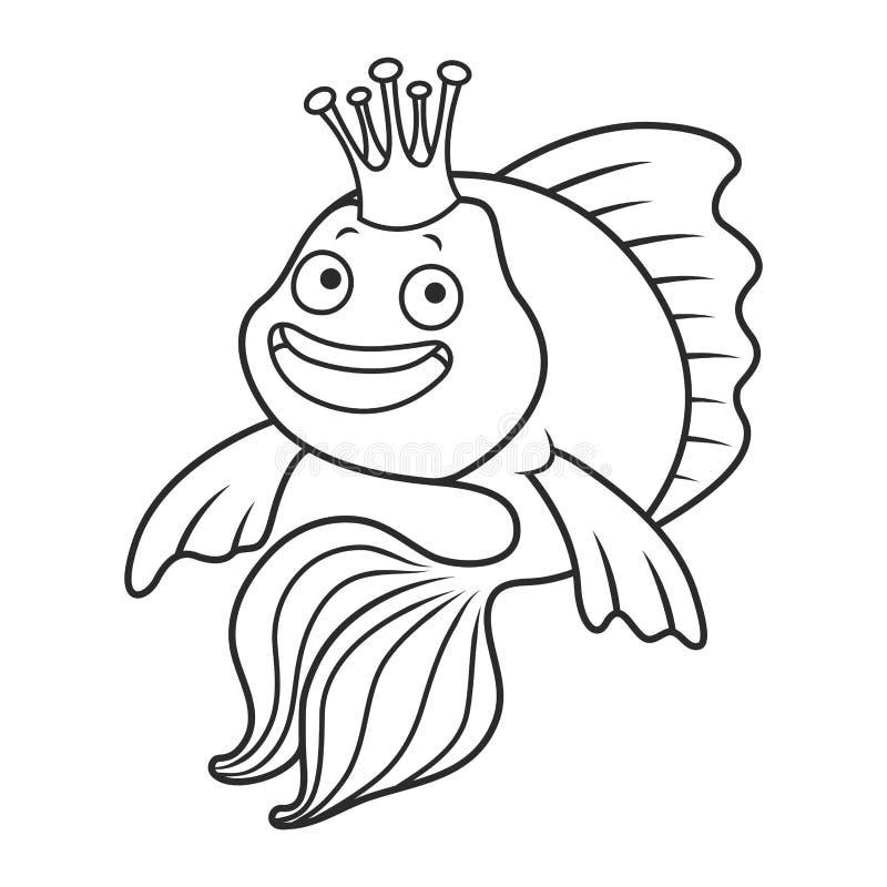 鱼金子隔离白色 向量例证