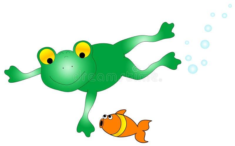 鱼青蛙图象 皇族释放例证