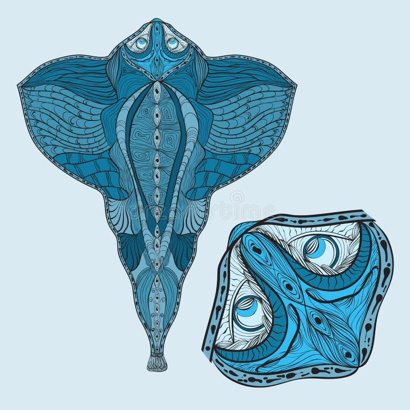 鱼题头被扩大化的舷梯 皇族释放例证