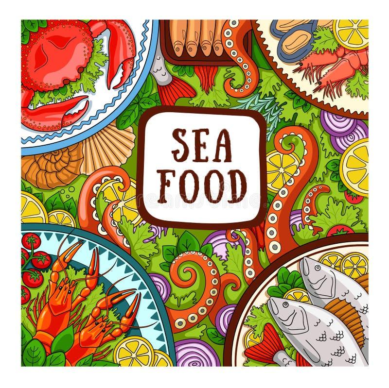 鱼食物荷兰芹牌照烤海运 商店的,餐馆设计观念 向量例证