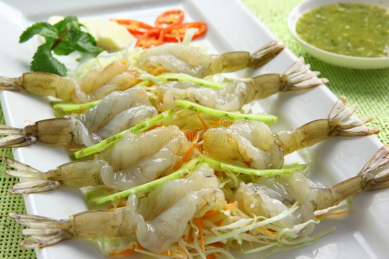 鱼食物调味汁虾 库存照片