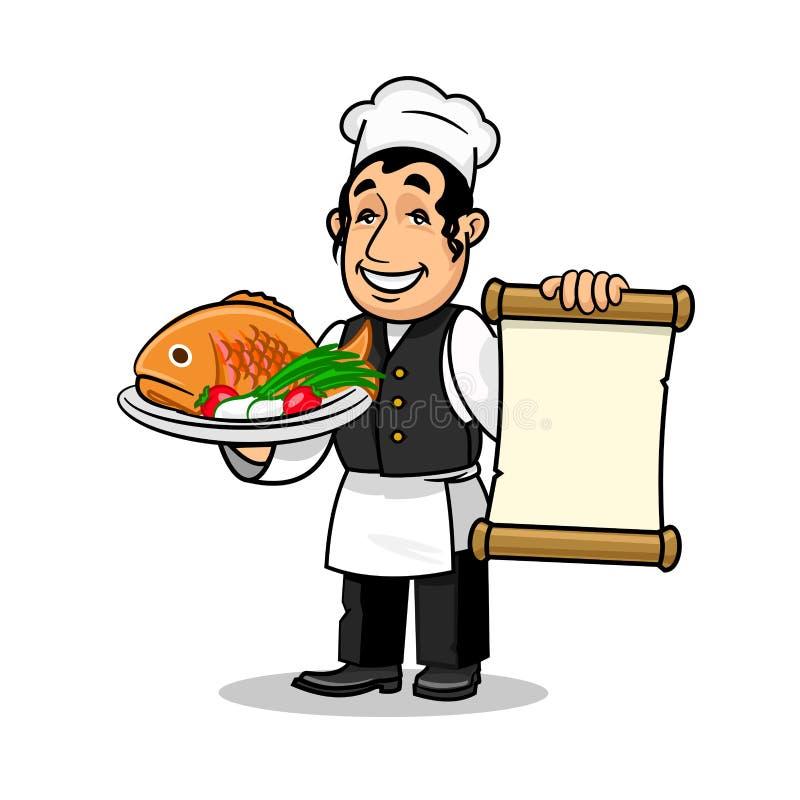 鱼餐馆厨师 菜单卡片模板 向量例证