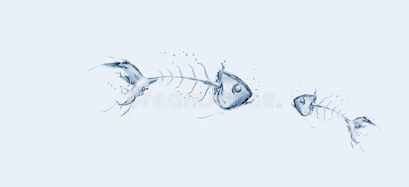 鱼骨哀伤的故事水 库存图片