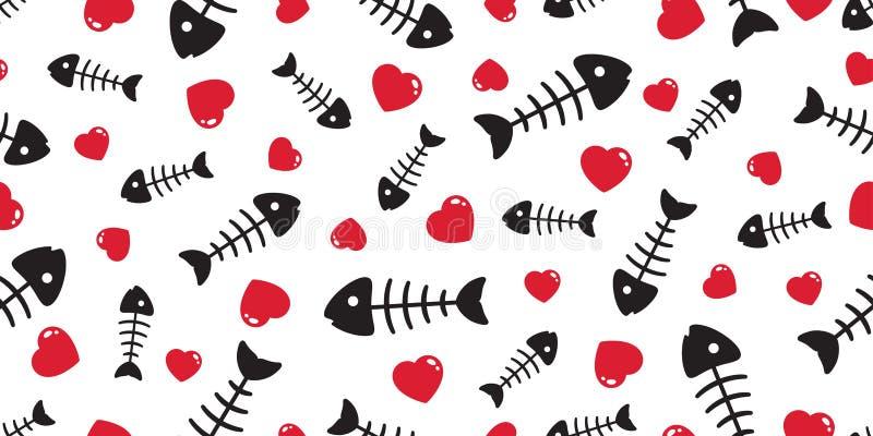 鱼骨无缝的样式传染媒介心脏华伦泰金枪鱼三文鱼海豚鲨鱼海洋海围巾被隔绝的瓦片背景重复wallpa 库存例证