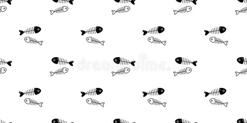 鱼骨无缝的样式传染媒介鲨鱼海豚金枪鱼三文鱼围巾被隔绝的动画片瓦片背景万圣节重复墙纸illu 皇族释放例证