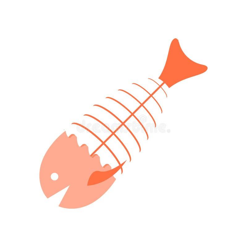 鱼骨象在白色背景和标志隔绝的传染媒介标志,鱼骨商标概念 向量例证