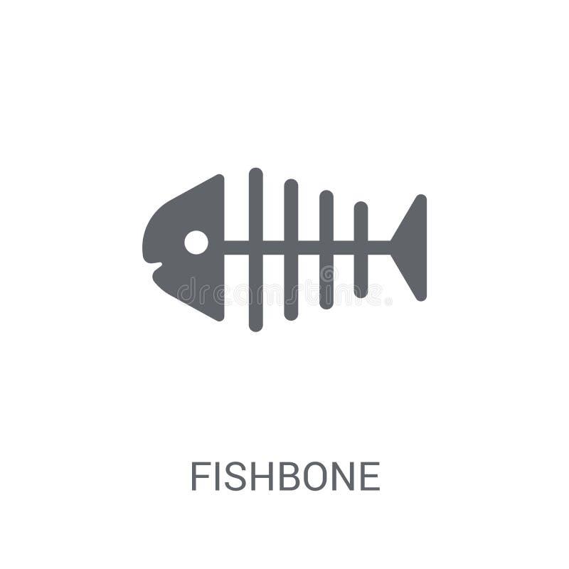 鱼骨象 在白色背景的时髦鱼骨商标概念 向量例证