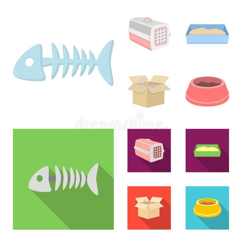 鱼骨,动物的容器,猫洗手间,在箱子的猫 在动画片,平的样式传染媒介的猫集合汇集象 向量例证