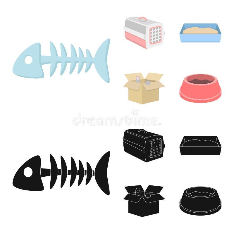 鱼骨,动物的容器,猫洗手间,在箱子的猫 在动画片,黑样式传染媒介的猫集合汇集象 皇族释放例证