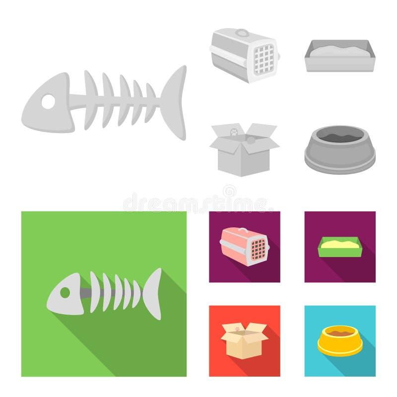 鱼骨,动物的容器,猫洗手间,在箱子的猫 在单色,平的样式传染媒介的猫集合汇集象 皇族释放例证