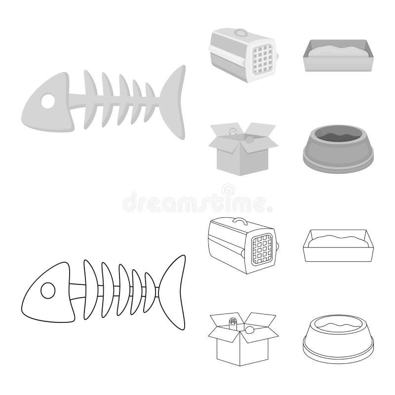 鱼骨,动物的容器,猫洗手间,在箱子的猫 在概述,单色样式的猫集合汇集象 向量例证
