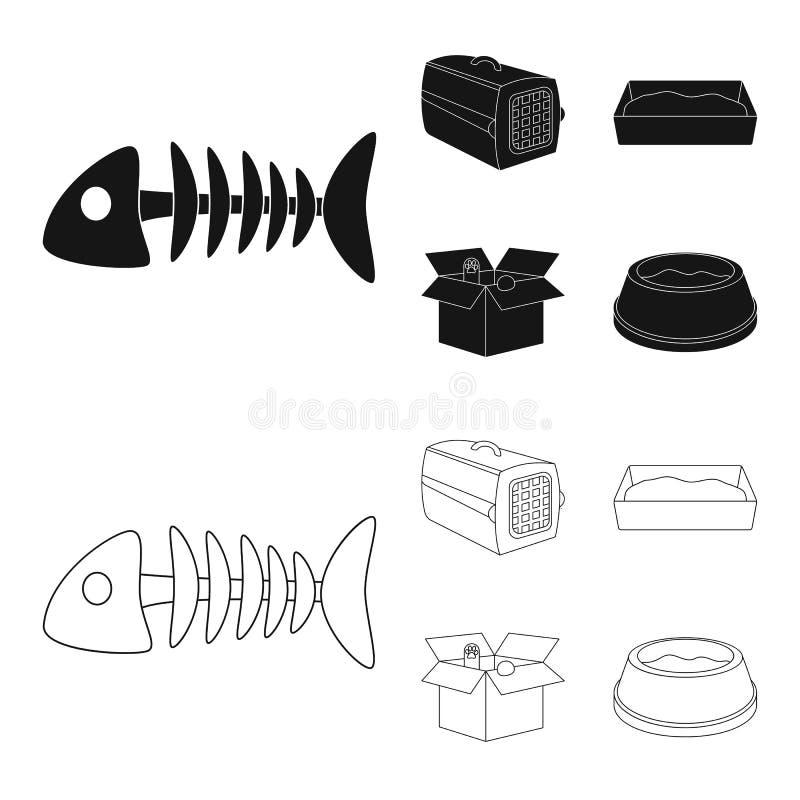 鱼骨,动物的容器,猫洗手间,在箱子的猫 在黑色,概述样式传染媒介的猫集合汇集象 向量例证