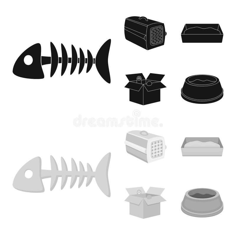 鱼骨,动物的容器,猫洗手间,在箱子的猫 在黑,单色样式传染媒介的猫集合汇集象 皇族释放例证