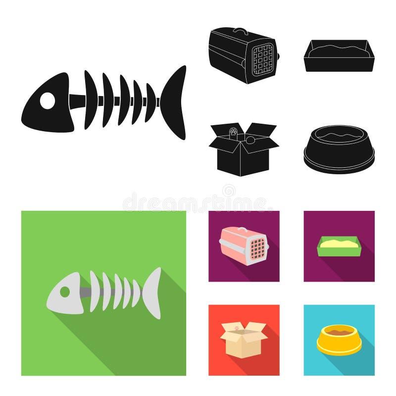 鱼骨,动物的容器,猫洗手间,在箱子的猫 在黑,平的样式传染媒介的猫集合汇集象 皇族释放例证