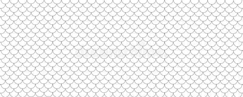 鱼鳞样式背景,黑白 向量例证