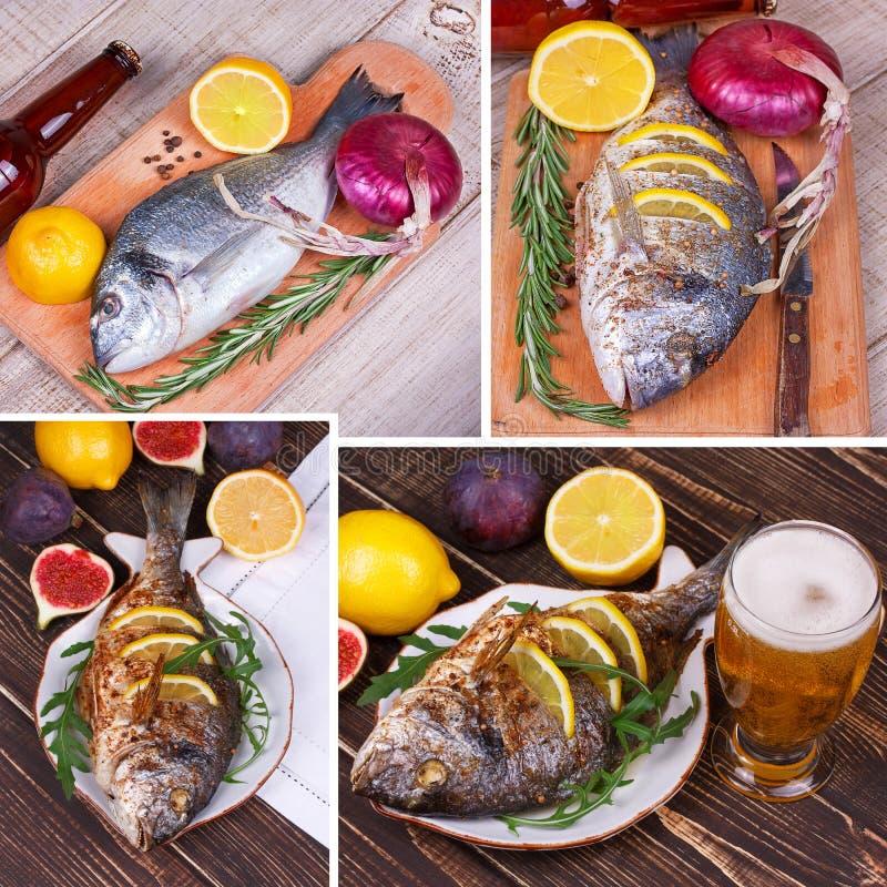 鱼dorado服务用柠檬和无花果 杯啤酒 食物拼贴画 免版税库存照片