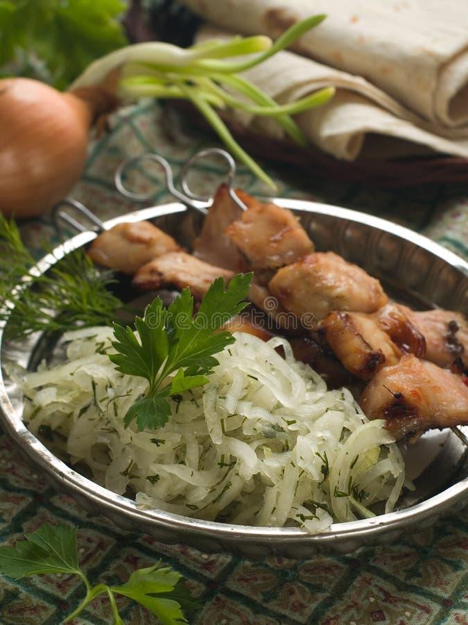 鱼kebab 免版税库存照片