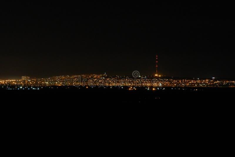 鲁塞保加利亚夜视图有美好的光的 免版税库存照片