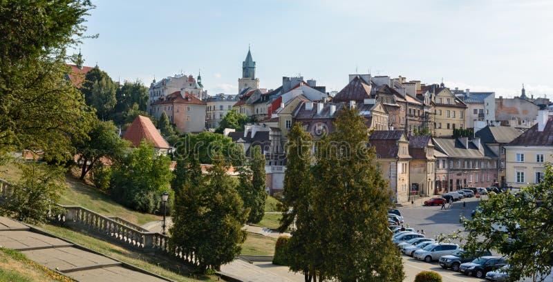 鲁布林看法从城堡的观察台的 城堡的主楼塔罗马式防御塔,最旧的大厦打开 库存图片