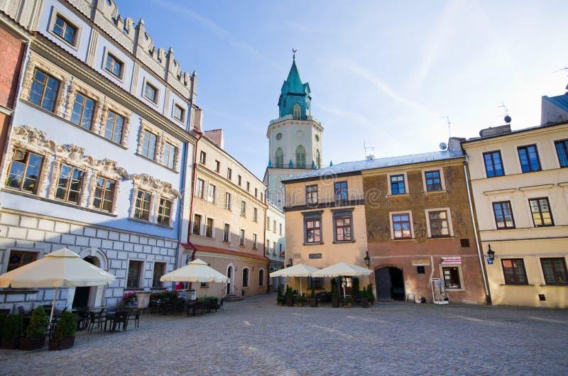 鲁布林,波兰镇中心  库存图片