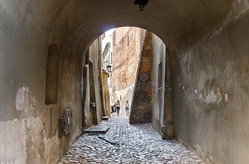 鲁布林,波兰,在拱道下的老镇段落 库存图片