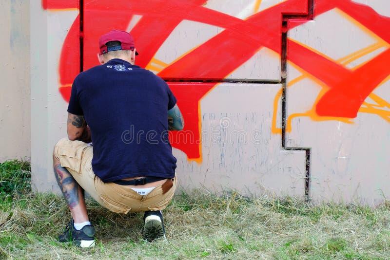08/04/2019鲁布林,波兰graffit在街道艺术节期间的艺术家绘画 图库摄影