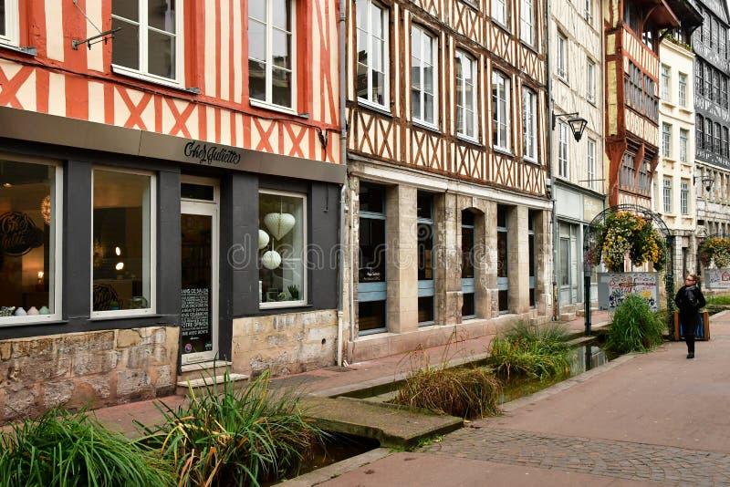 鲁昂,法国- 2016年11月26日:历史市中心 图库摄影