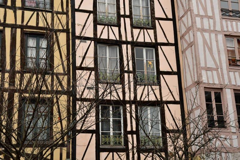 鲁昂,法国- 2016年11月26日:历史市中心 库存照片