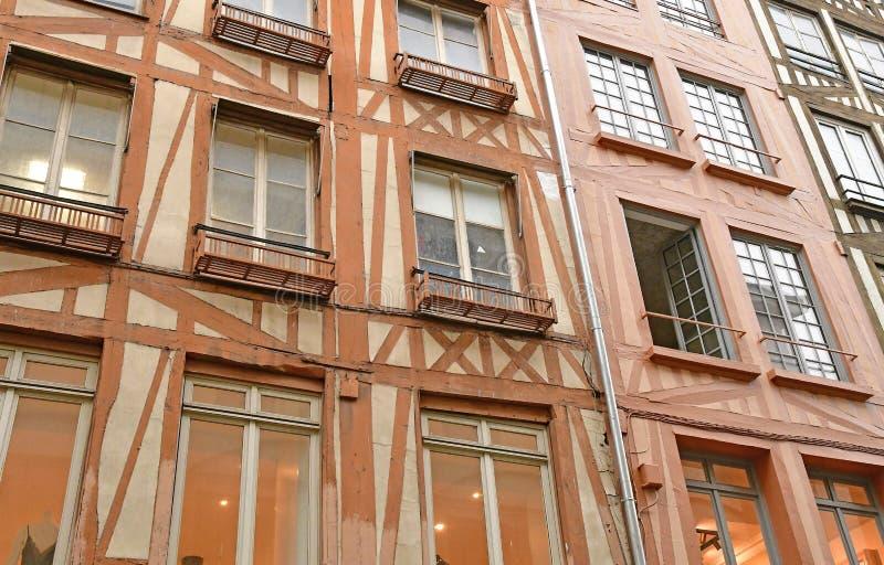 鲁昂,法国- 2016年11月26日:历史市中心 免版税库存照片