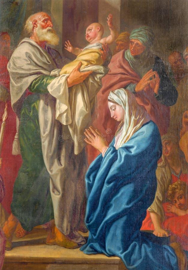 鲁汶-耶稣的介绍痛苦寺庙的在Sint Doperkerk 1月由未知的艺术家的de 图库摄影