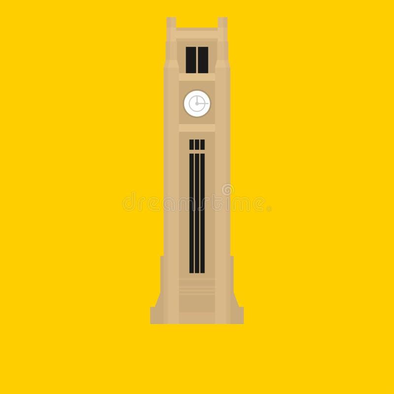 贝鲁特市地平线剪影 平的黎巴嫩旅游业象横幅,明信片 黎巴嫩旅行概念 与地标曲拱的都市风景 皇族释放例证