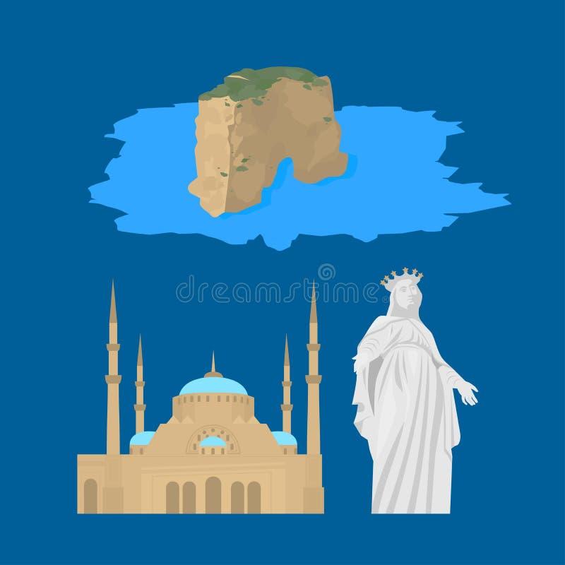 贝鲁特市地平线剪影 平的黎巴嫩旅游业象横幅,明信片 黎巴嫩旅行概念 与地标曲拱的都市风景 库存例证