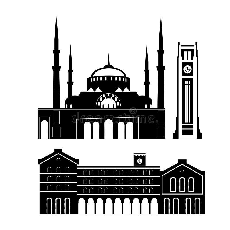 贝鲁特市地平线剪影 平的黎巴嫩旅游业象横幅,明信片 黎巴嫩旅行概念 都市风景与 皇族释放例证