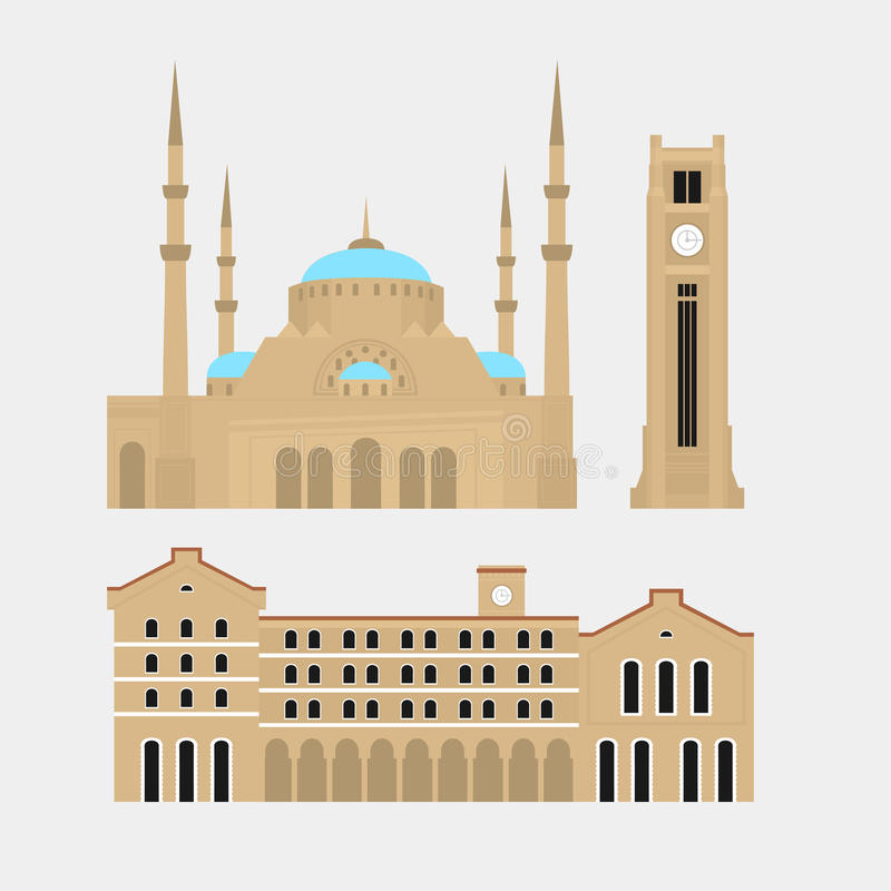 贝鲁特市地平线剪影 平的黎巴嫩旅游业象横幅,明信片 黎巴嫩旅行概念 都市风景与 库存例证
