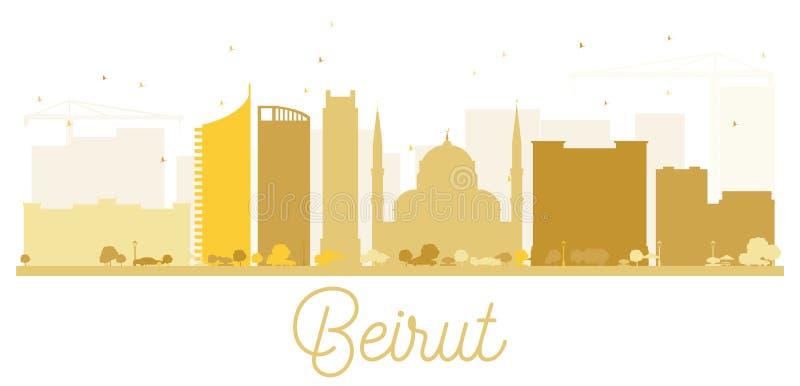 贝鲁特市地平线金黄剪影 皇族释放例证
