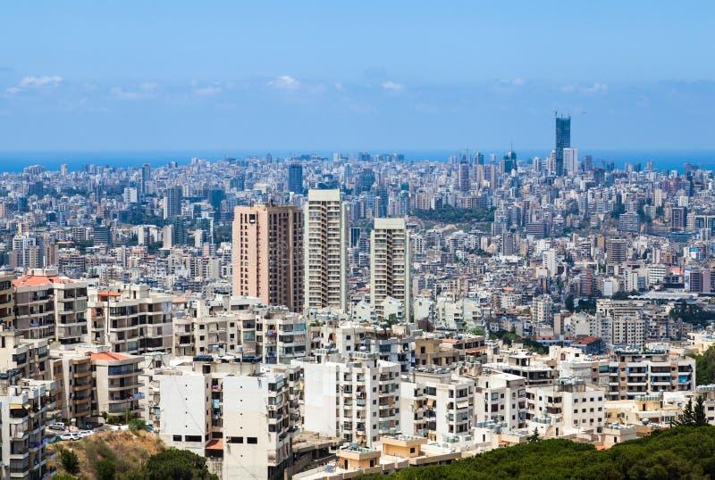 贝鲁特都市风景和大厦在黎巴嫩 免版税库存图片