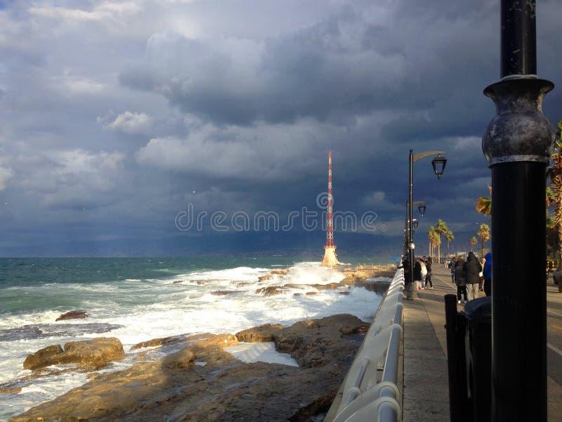 贝鲁特黎巴嫩海岸线和Corniche  免版税库存照片