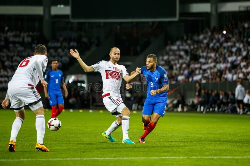 鲍里索夫-白俄罗斯, 2016年9月:在世界杯Qual比赛的法国国家橄榄球队  UEFA西甲 免版税库存图片