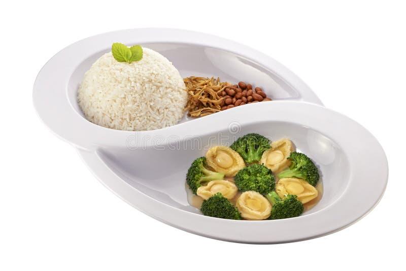 鲍鱼亚洲nasi lemak 库存图片
