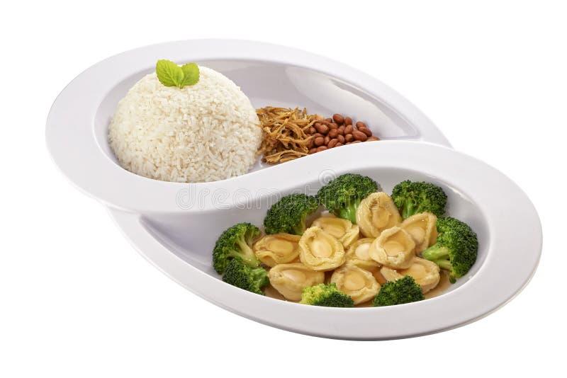 鲍鱼亚洲nasi lemak 免版税库存照片