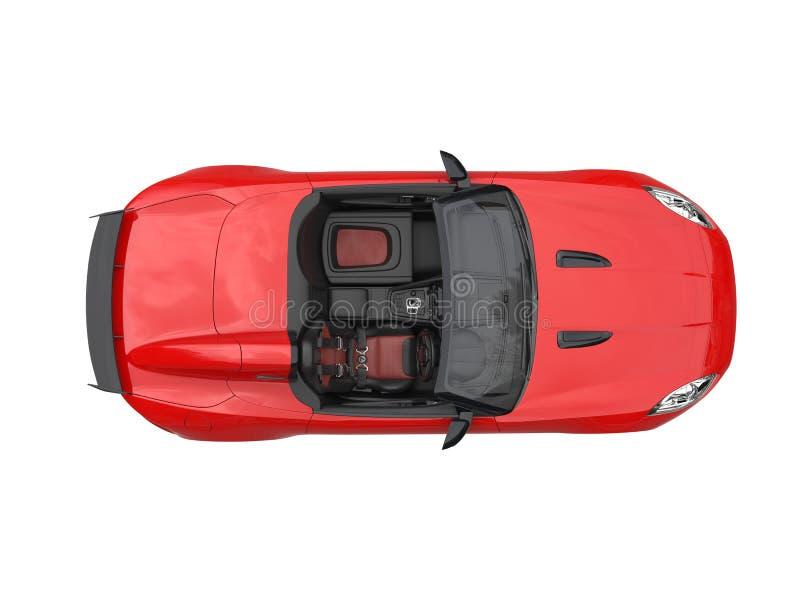鲜红敞篷车体育车的顶视图 向量例证
