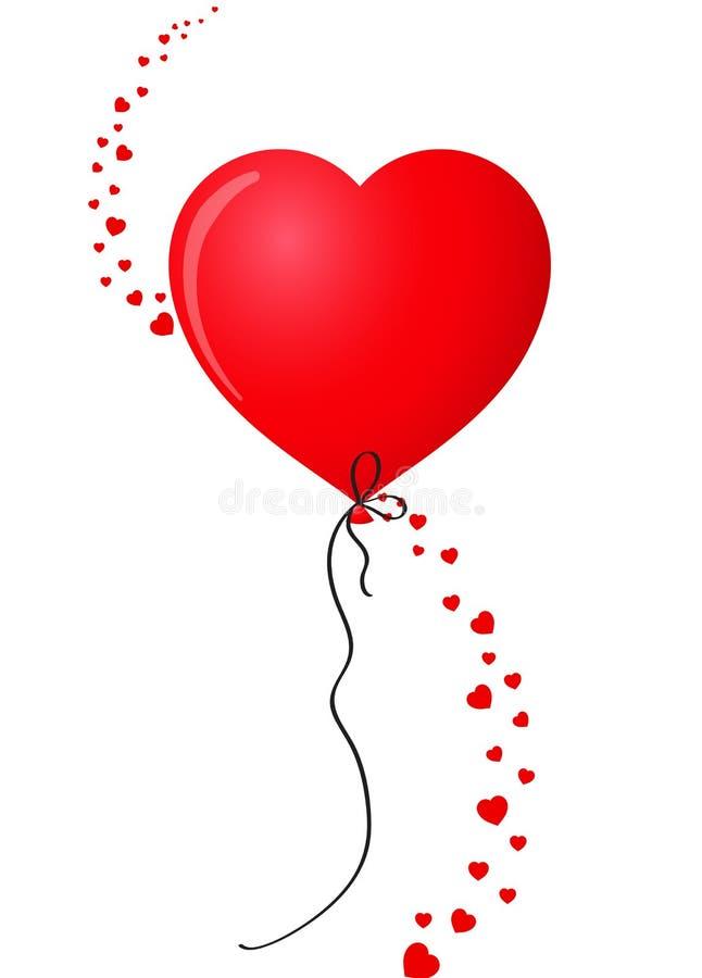 现实心形的氦气气球被隔绝的由许多红色不同尺寸心脏做成在白色背景