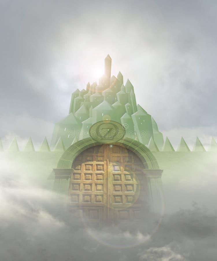 鲜绿色城市门 皇族释放例证