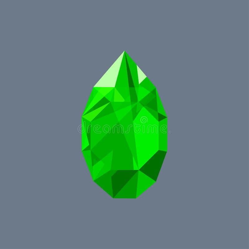 鲜绿色宝石发光的商标传染媒介下落塑造了 库存例证