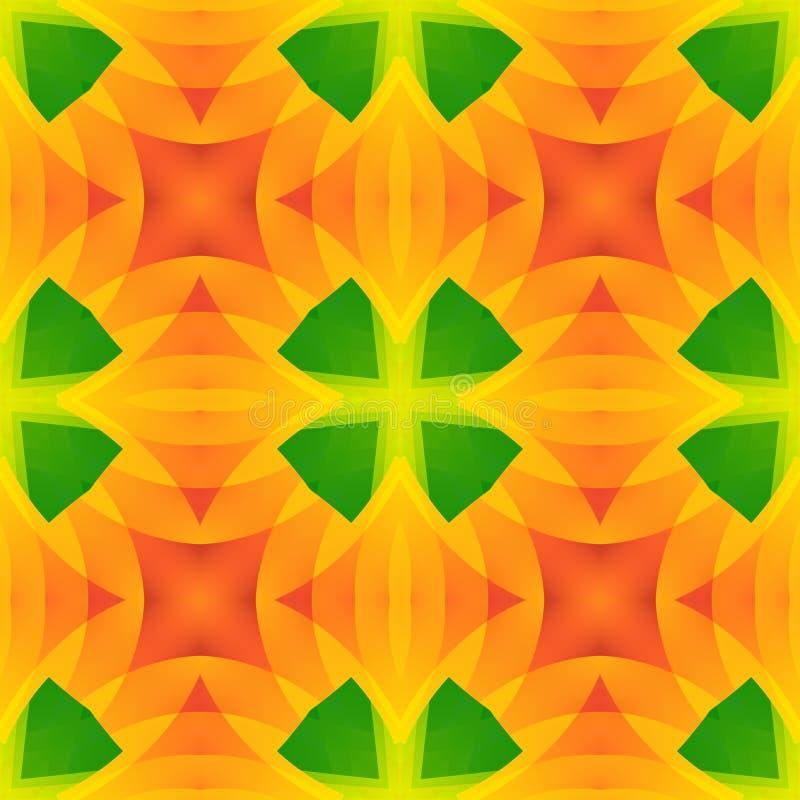 鲜绿色橙色抽象纹理 详细的背景例证 无缝的瓦片 家庭装饰织品设计样品 Tileable mo 库存例证