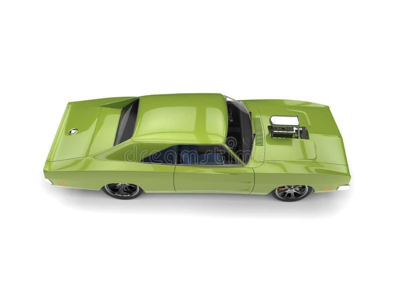 鲜绿色的有巨大的发动机组的葡萄酒美国肌肉汽车-冠上在侧视图下 皇族释放例证