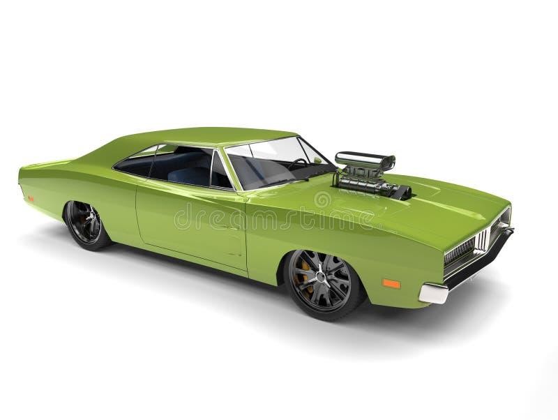鲜绿色的有巨大的发动机组的葡萄酒美国肌肉汽车 向量例证