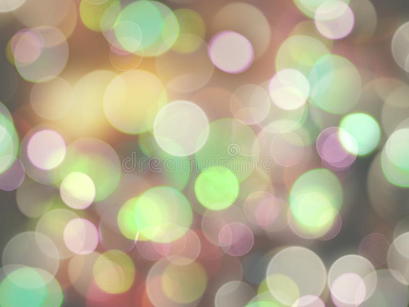 鲜绿色的桃红色和白色被弄脏的圆的光抽象图象 库存例证
